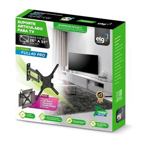 Suporte Articulado de Parede ELG para TVs LED, LCD, PLASMA, 3D, 26 A 55 VESA400, FULL40 PRO | Preto GO - 277851