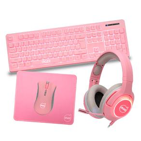 Combo Gamer Dazz Série M 4 em 1, Teclado + Mouse + Mousepad + Headset | Rosa DF - 581800