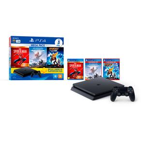 Console Sony Playstation 4 Slim Mega Pack 15, Com Controle Sem Fio Dualshock 4 Preto DF - 223108