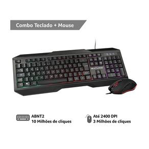 Combo Teclado e Mouse Gamer Multilaser 2.400DPI com Fio LED - TC239 DF - 582110